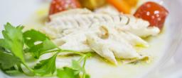 Fish menu with Pasta and Fish ''Acqua Pazza'' Style